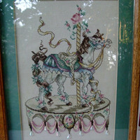 Carousal Horse Cross Stitch, Needlepoint, Framed, Child's Room Decor,