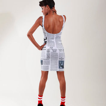 Newspaper Print Bandage Dress