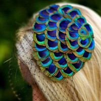 Minerva ... Peacock Fascinator with Black Birdcage Veil
