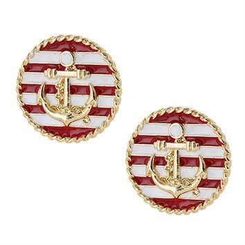 HauteChicWebstore Anchor Design Circle Post Earring in Red and White - www.shophcw.com