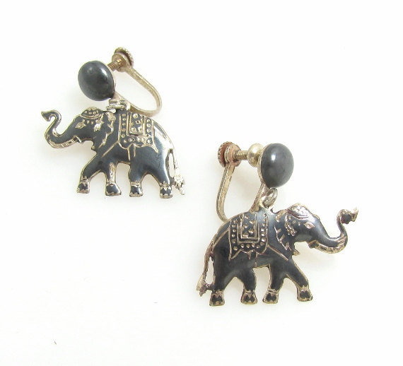 Siam Sterling Silver Niello Elephant Earrings