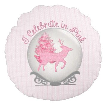 Celebrate in Pink Snowglobe Round Throw Pillow