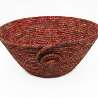 Coiled Fabric Bowl, Basket, Russet