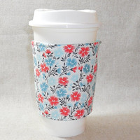Lovely Aqua, Turquoise and Coral Floral Slide-On Coffee Cozy