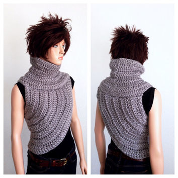 Katniss Inspired Hand Crocheted Cowl in Dallas Grey