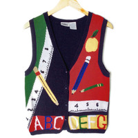 Rulers and Pencils Teacher Tacky Ugly Sweater Vest