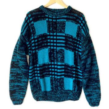 Vintage 80s Chunky Checkerboard Plaid Cosby Ugly Sweater