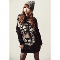 Stylish Round Neck Tiger Head Print Batwing Sleeve Loose Fit Black Color Long Women's T-Shirt (BLACK,ONE SIZE) in Tees & T-Shirts | DressLily.com