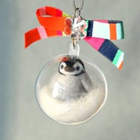 Baby penguin in bubble charm, needle felted penguin in snow globe, Christmas tree decoration, handmade Christmas ornament