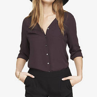 GATHERED V-NECK BLOUSE from EXPRESS