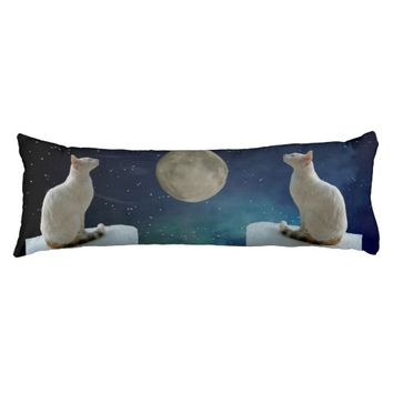 White Cat and Moon Body Pillow