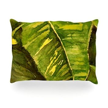"""Kess InHouse Rosie Brown """"Tropical Garden"""" Leaf GreenOblong Rectangle Throw Pillow, 14 by 20-Inch"""