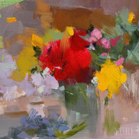 Floral Painting Still Life - Roses in a Bowl Canvas Art Flowers Painting by Yuri Pysar