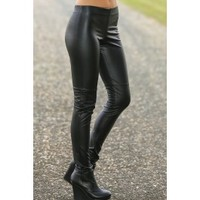 Classic Touch Faux Leather Leggings