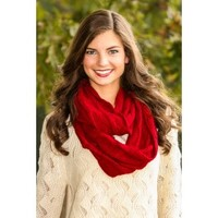 Cup Of Cocoa Infinity Scarf-Cranberry