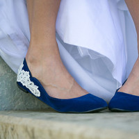 Blue Wedding Ballet Flat with Ivory Lace Applique. Size 8.5