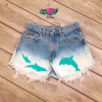 High Waisted Dolphin Fade Shorts
