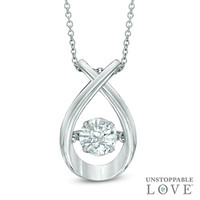 Unstoppable Love™ 6.0mm Lab-Created White Sapphire Pendant in Sterling Silver