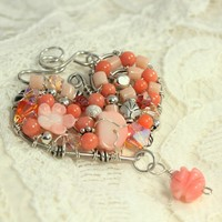 Silver Wire Heart, Peach Coral, Mosaic Jewelry