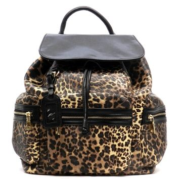 HauteChicWebstore Faux Leather Animal Print Backpack in Brown at www.shophcw.com