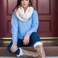 Lace Me Back Sweater, Blue