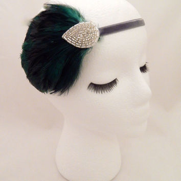 The Elsie - green art deco headpiece, holiday party headband, dark green feather fascinator, 1920s art deco accessories, silver green deco