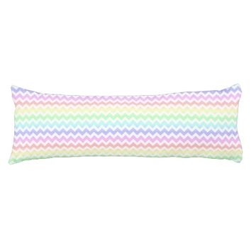 Rainbow Pastel White Chevron Body Pillow