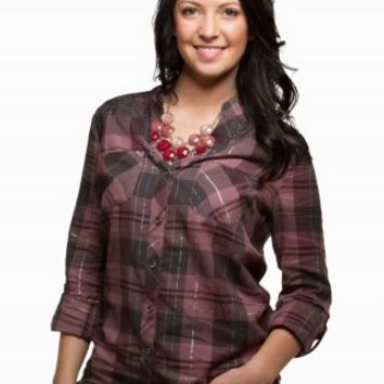LACE PLAID LUREX SHIRT