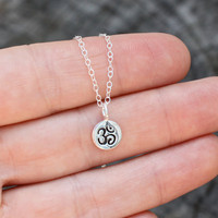 Tiny om necklace - tiny silver om . sterling silver delicate chain . simple, modern yoga jewelry . meditation &amp; mindfulness