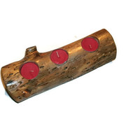 Wooden Log Candle Holder - Tealight Holders - Rustic Decor Red