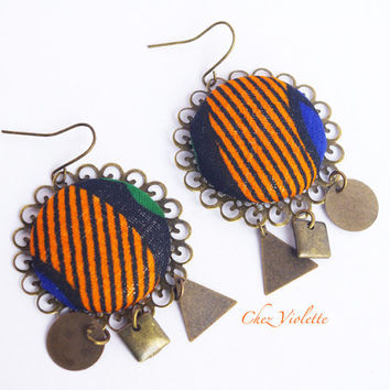 African Fabric earrings, Ethnic earrings, Geometric earrings,Blue orange earrings, Bronze dangle, Geometric bead, Tribal style earrings