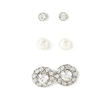 FOREVER 21 Classic Stud Set Silver/Clear One
