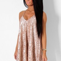 Kirsten Gold Sequin and Lace Halter Swing Dress | Pink Boutique