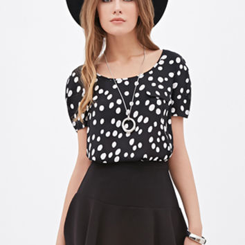 LOVE 21 Dotted Origami-Pleated Top