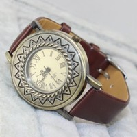 Roman Number Quartz Vintage Leather Wrap Bracelet Wrist Watch Fashion Women Ladies Wristwatch Gift Brown