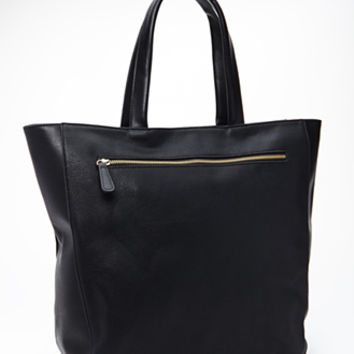 FOREVER 21 Pebbled Faux Leather Tote Black One