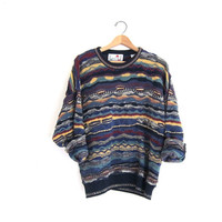 Vintage abstract sweater. Bill Cosby sweater. Oversized Retro sweater. Slouchy jumper