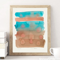 Abstract Watercolor Painting - original contemporary fine art - ombre gradient - southwest - terra cotta - turquoise
