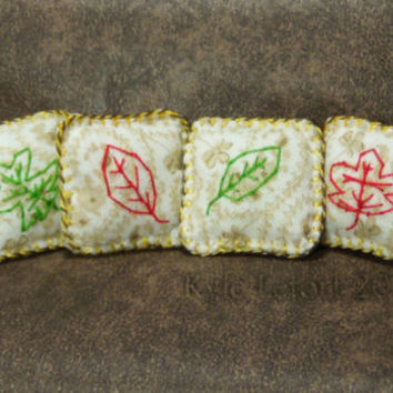 Fall Leaves DollhouseThrow Pillows - One Inch Scale 1:12 - Artisan Embroidered