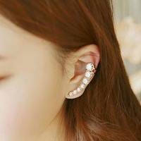 Stringed Rhinestone Wrapping Ear Cuff (Single, Adjustable)