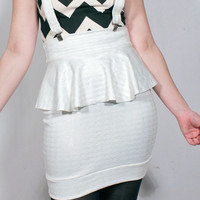 White Houndstooth Suspender Ruffle Skirt MADE TO ORDER
