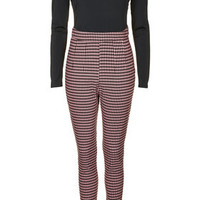 **DOGTOOTH CONTRAST SCOOP BACK JUMPSUIT BY RARE
