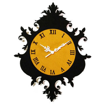 Damask Wall Decor - Unique Wall Clock - Wooden Clock - Home Decor