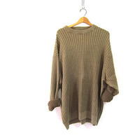 vintage light brown sweater. oversized slouchy pullover sweater. men's cotton sweater size 2X