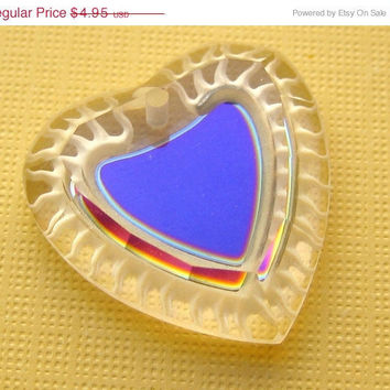 STOREWIDE SALE Vintage Swarovski crystal pendant glass heart heliotrope purple 24mm art 6231