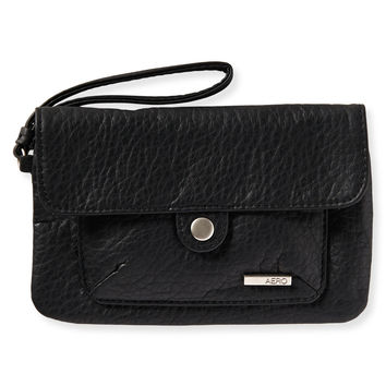 Faux Leather Snap Flap Wristlet