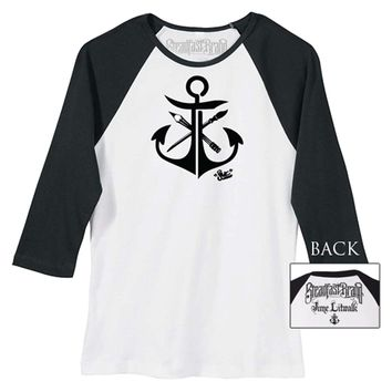 "Women's ""JL Anchor"" Baseball Tee by Jime Litwalk for Steadfast Brand (White/Black)"