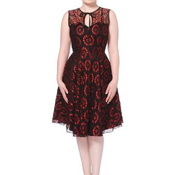 "Women's ""Crimson Lace"" Sleeveless Dress by Voodoo Vixen (Red)"