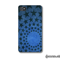 Case iPhone, iPhone 4s Case, iPhone 4 Case - Star Union Circle on Blue