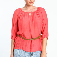 Plus Size Oversize Top With Braided Belt - LoveCulture